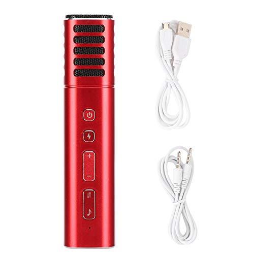 Lazmin112 A9 Kabelgebundenes Kapazitives Mikrofon, Tragbares Mikrofon mit Soundkarten-Sprach-Podcasting, Verschiedene Sounds, für Karaoke-Konferenzen, für Smartphones und Tablets(rot)