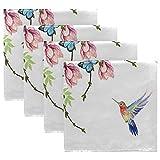 Funnyy Frühling Schmetterling Blume Vögel Stoffservietten waschbar Abendessen Servietten übergroß weich wiederverwendbar Satin Tische Servietten mehrfarbig - 7