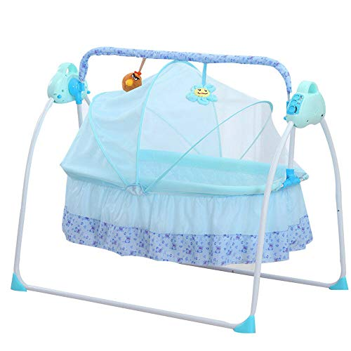 DNYSYSJ Electric Baby Crib Cradle, Blue Auto-Swing Bed Infant Rocker Cot, Baby Sleep Cradle with Mat, Boy Girl Bassinets Swing Crib with Music, Three-Gear Speed Regulation