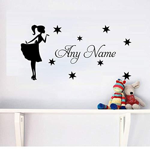 Muurtattoo, motief prinses en ster, vinyl, zelfklevend, personaliseerbaar, voor elke naam