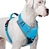 ThinkPet No Pull Harness Breathable Sport Harness - Reflective Padded Dog Safety Vest with Top Handle, Back/Front Clip for Easy Control XL Light Blue