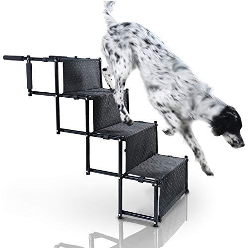 Bella & Balu Scaletta per Cani - La rampa Pieghevole con Quattro gradini per Cani di Piccola, Media e Grande Taglia per facilitare la Salita su Auto, Letto e Divano