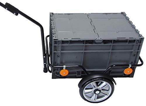 Fahrradanhänger Lastenanhänger Handwagen Transportanhänger mit Klappbox 60 x 40 x 34 cm EuroFlexx mit Kupplung