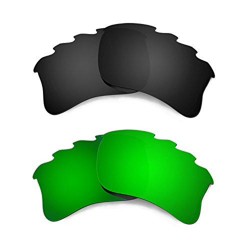 HKUCO Plus Mens Replacement Lenses For Oakley Flak Jacket XLJ-Vented Black/Emerald Green Sunglasses