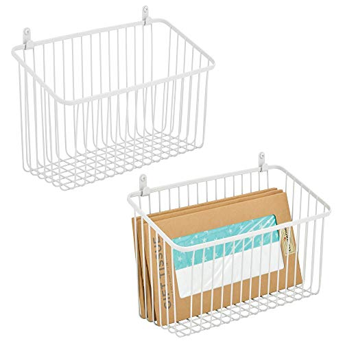 mDesign Portable Metal Farmhouse Wall Decor Angled Storage Organizer Basket Bin for Hanging in Entryway Mudroom Bedroom Bathroom Laundry Room - Wall Mount Hooks Included Small 2 Pack - White