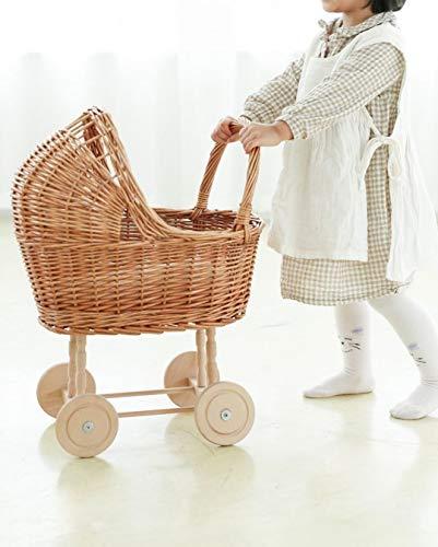 Rattan Doll Kinderwagen Spielhaus Kinderwagen Kinderzimmer Dekoration Foto Requisiten Farbe Holz Originalfarbe 50 × 30 × 58cm