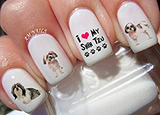 Shih Tzu Dog Water Nail Art Transfers Stickers Decals - Set of 56