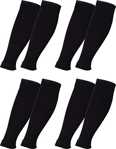 RS. Harmony Stützstulpe ohne Fuß mit Kompression für lange Flug-reisen und Auto-fahrten sowie für\'s Büro, Stulpen gegen Thrombose und geschwollene Beine, 4 Paar, schwarz, S/M