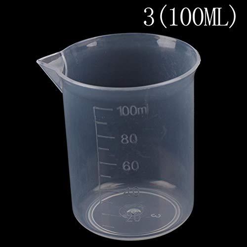 PJY - Set di 2 bicchieri volumetrici in plastica trasparente da 250 ml/150 ml/100 ml/50 ml/25 ml A3