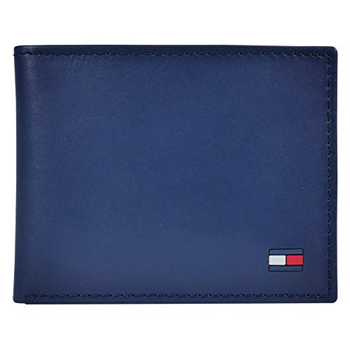 Tommy Hilfiger Men's Leather Wallet – Slim Bifold with 6 Credit Card Pockets and Removable Id Window, Navy Dore, One Size