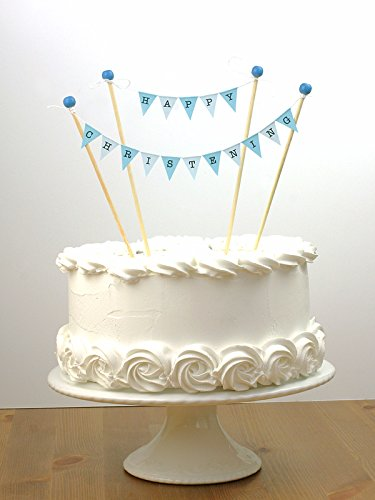amazing buntings - Happy Christening - Cake Bunting Topper - Blue 124