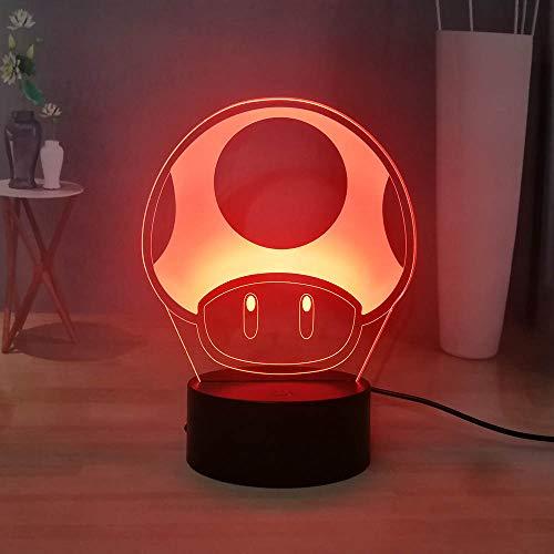 Laysinly Super Mario 3D LED Night Light for Kids, Switch Game Mario Mushroom Table Lamp, Mushroom Kingdom Toad Desk Lamp Bedroom Sleeping Night Lamp for Boys Girls, Good Birthday Xmas Gift for Kids