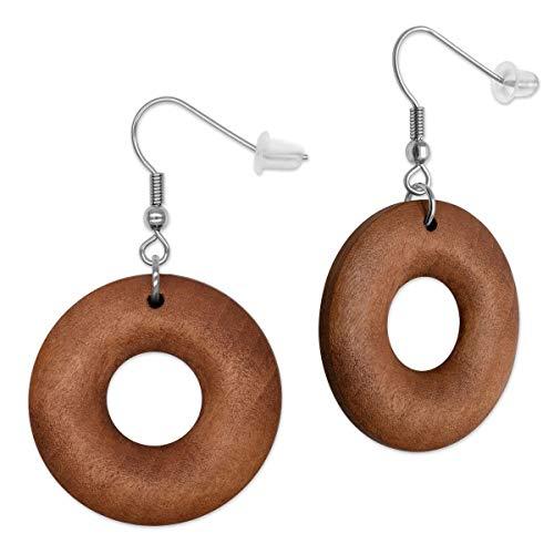 SoulCats® 1 Paar runde Holz Ohrringe für Damen in der Farbe braun