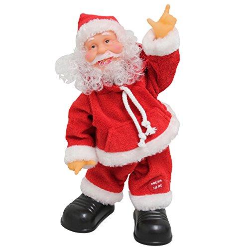 [lux.pro] Weihnachtsmann 31cm - Weihnachts-Deko Nikolaus-Figur mit Musik Weihnachten Santa Claus - Singende Tanzende Weihnachtsmänner