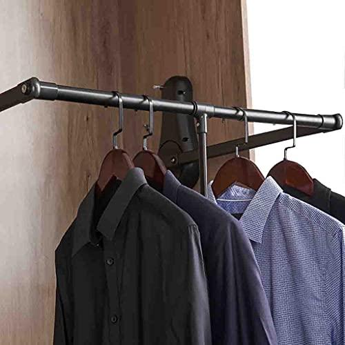 Klädställ Garderob lyftklädstång, justerbar garderobstång med buffert mjuk retur, dra ner kläder hängande järnväg - svart (Size : 510-650mm/20-25.6inch)