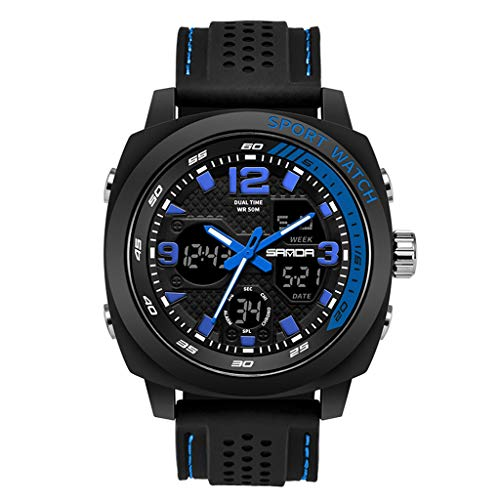 Kelry Herren Sportuhr Mit Schwarzem Silikonband Uhr Doppelte Anzeige Analog Digital LED Elektronische Armbanduhren (Blau)