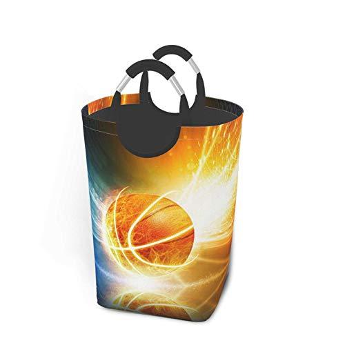 Cesto de lavandería con diseño de pelota de baloncesto, contenedor de almacenamiento impermeable, cesto de lavandería con asas, cesta organizadora, cesto de lavandería, contenedores de juguete 50L