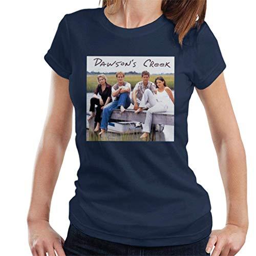 MathewARice Women's Retro Dawsons Creek Cast T-Shirt,Navy Blue,Large