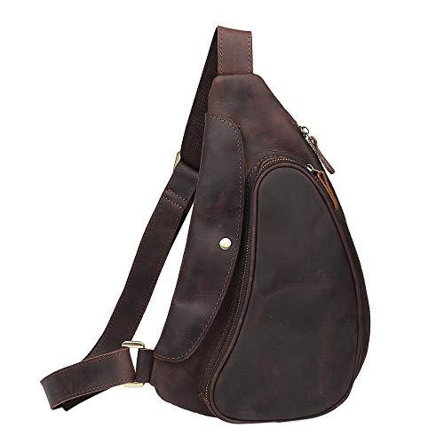 Neuleben Schulterrucksack Sling Rucksack aus echtem Leder Vintage Daypack Klein Crossbody Brusttasche Schultertasche Damen Herren für Reise Outdoor Freizeit (Dunkelbraun)