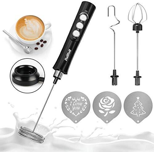 Dallfoll Elektrischer Milchaufschäumer, USB Wiederaufladbar Milchaufschäumer, 3 in 1 Milchschäumer Elektrisch für Kaffee/Latte/Cappuccino, Eier Schlagen mit 3 Stück Latte Art Schablonen (Schwarz)
