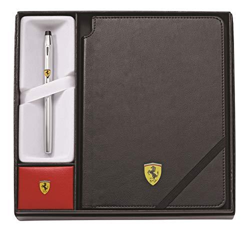 Cross Geschenkset Ferrari Century II Glanzchrom Rollerball & Ferrari Notizbuch in Schwarz