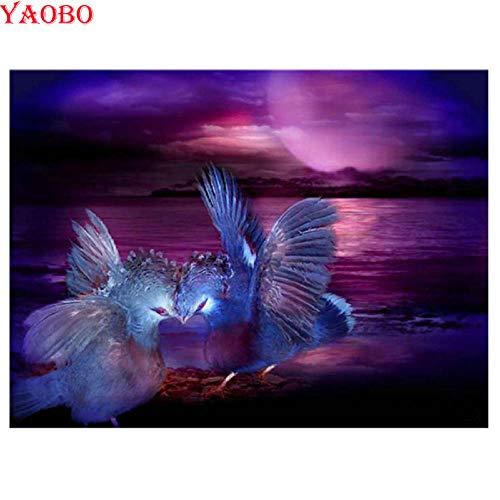 Msszsh 5D Diamond Painting Art Kits Product Ronde Volledige Boor Vogels Paar Cross Steek Strass Steentjes Mozaïek Borduurwerk 40X50Cm(15.5X19.5In)