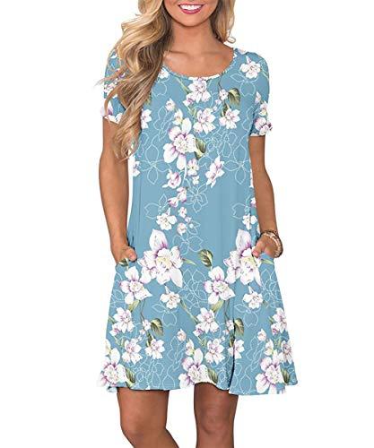 Yidarton Sommerkleid Damen Casual Lose Kurzarm T-Shirt Kleider Elegant Boho Blumen Strand Kleider mit Taschen(bl,l)