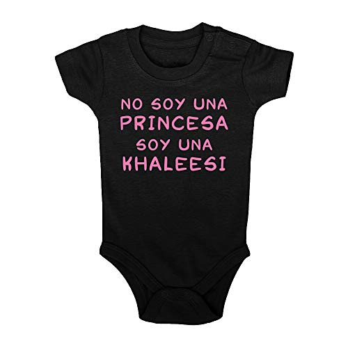 Body bebé No Soy una Princesa, Soy una Khaleesi. Juego de Tronos, Game of Thrones, Logo Comic Fant Art Parodia. Bebé Friki. Manga Corta. (Negro, 9 Meses)