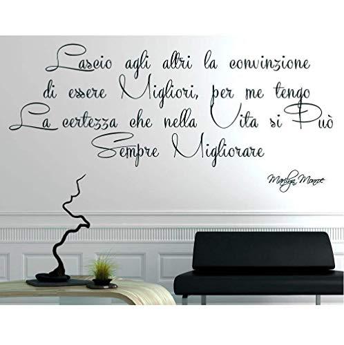 Italia Adesivo Murale Frase Citazione Wall Stickers Adesivi Murali - Marilyn Monroe Lascio agli altri la convinzione di essere migliori 56 * 120cm