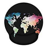 Ergonomic Mouse Pad with Gel Wrist Rest Support, iLeadon Non-Slip Rubber Base Wrist Rest Pad for Home, Office Easy Typing & Pain Relief, Black Map