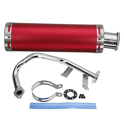 NICOLIE Conjunto De Silenciador De Sistema De Escape De Carreras De Motocicleta Compatible con Scooter Gy6 De 50 CC - Rojo