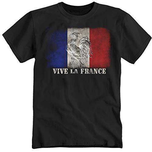 Vive la France - Maglietta a maniche corte, con scritta in francese 'Normandie Côte d'Azur Marseille', colore: Nero Nero XL