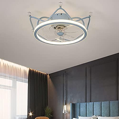 WRQING Creativo Ventilador de Techo con Iluminación y Mando a Distancia Dimable 80W Fan con Lámpara 3 Velocidad del Viento para Dormitorio Restaurante Ventilador Luz (Color : BlueØ50*15CM)