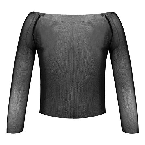 YOOJIA Camiseta de Malla Transparente de Danza de Gimnasia para Niñas Blusa de Gasa con Manga Larga Cuello Redondo para Vestido de Princesa Negro 7-8 años