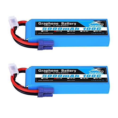 YOWOO 2 Packs 11.1V 5000mah Graphene Battery 3S 100C RC Lipo Batteries with EC5 Plug for RC Cars Slash vxl Slash 4x4 vxl E-maxx Brushless Axial e-revo Brushless and Spartan Models