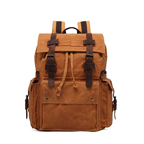Mens Backpack Mens Canvas Backpack Large Capacity Waterproof Laptop School Rucksack Computer Bag For School Traveling And Work 15.6' Laptop Travel Backpacks ( Color : Yellow , Size : 33*16*43cm )