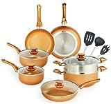 DIJA Nonstick Pots and Pans Set, 14pcs Ceramic Cookware Set, Non-stick Pan Set for Cooking, Stock Pot, Sauce Pans, Deep Saute Pan with Lid, Gas, Induction Compatible