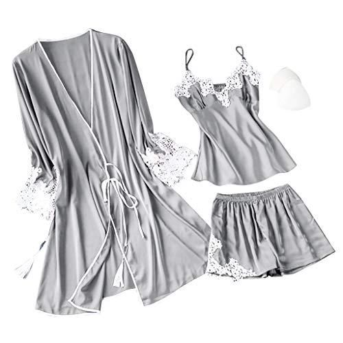 Fenverk 3Stück Negligees Damen Sexy Dessous Silk Kimono Dressing Babydoll Spitze Dessous Gürtel Bademantel Nachtwäsche Unterwäsche Lace Bodysuit(3PC Grau,XL)
