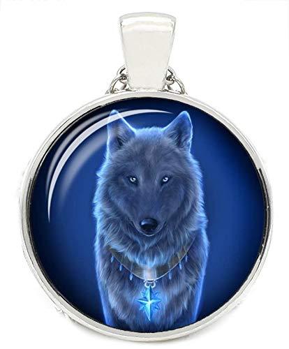Merchandise for Fans Halskette mit Anhänger/Silberschmuck/Indianerschmuck. Farbe: Silber, Motiv: Wolf nachtleuchtend, fluoreszierend (05)