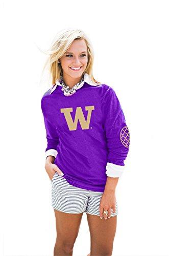 NCAA Washington Huskies, Puff Print Elbow Patch Long Sleeve Tee, Purple, Large
