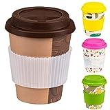 Taza de café reutilizable con tapa y funda de silicona para la taza de...
