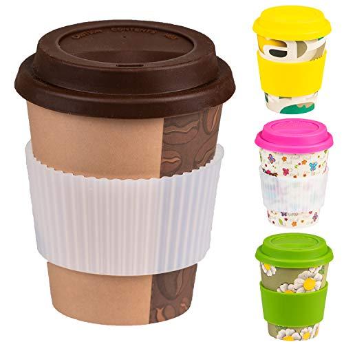 Bamboo Cup Tazza di caffè Riutilizzabile Coperchio e Manicotto in Silicone - Coppa Eco in bambù, sicura per Alimenti e rispettosa dell'ambiente, Lavabile in lavastoviglie (400 ml)