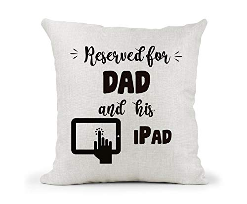 Tr73ans Personalised Cushion. Reserved For and his iPad. Computer. Dad Grandad Brother Uncle Retirement gift.