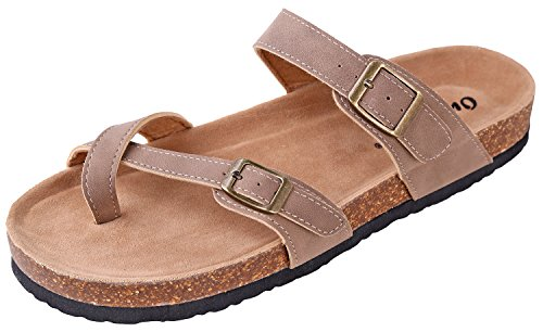 OUTWOODS Women's Bork-30 Vegan Leather Slide On Toe Loop Sandals (8 B(M) US, Taupe-Nubuck)