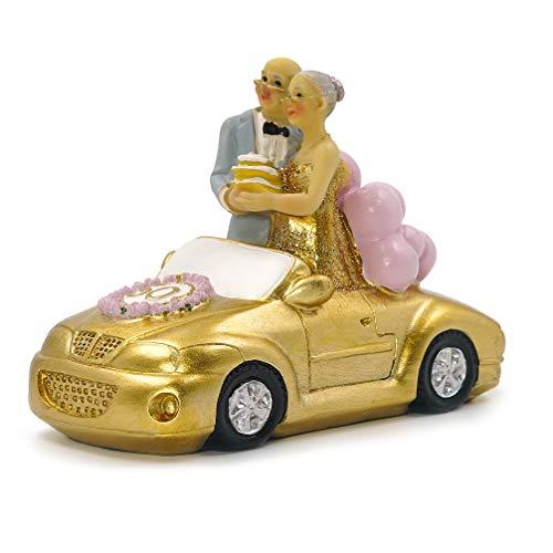 Aoneky Figura de Aniversario de Bodas de Oro - Figura de Boda para Pastel Tarta, Regalo para Abuelos Ancianos Mayores Padres, Figura Decorativa de 50 Años, Decoración del Hogar Casa Coche