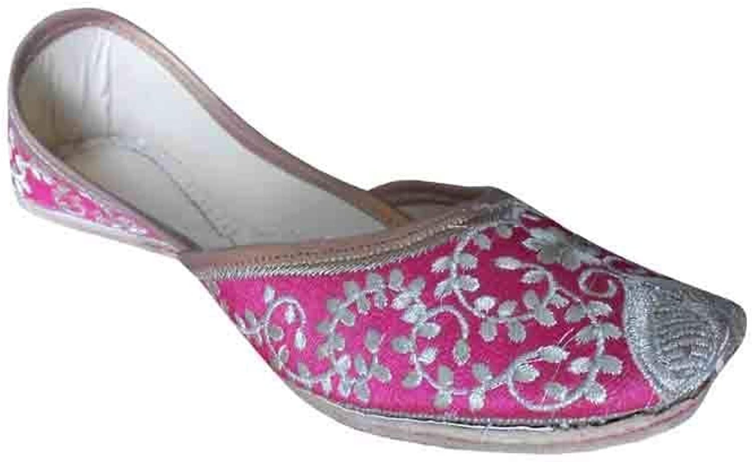 Kalra Creations Mojari Leather Women shoes Indian Handmade Ethnic Juti Flipflops Flat Pink