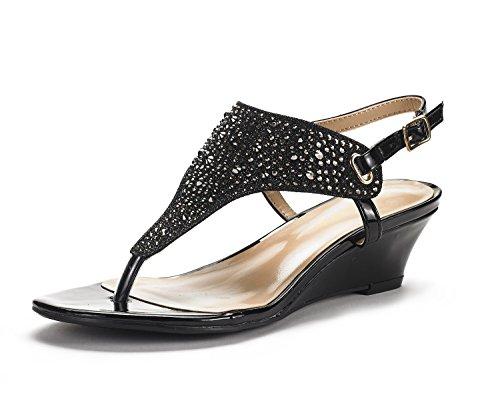 DREAM PAIRS Women's Aditi-New Black Low Wedge Dress Sandals - 8.5 M US