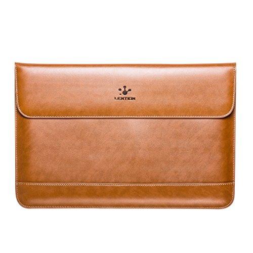 lention aus Spaltleder für MacBook Air 11/MacBook 12/Surface Pro/Samsung/HP/Asus/Acer, Premium Tragetasche mit Magnetverschluss für 11-12 Zoll Laptops & Tablets (Braun)