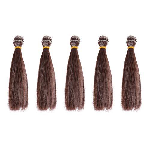 EXCEART 5 Pcs Droite Longue Poupée Cheveux Trame Résistant À La Chaleur Lisse Poupée Extensions de Cheveux pour DIY Artisanat BJD Américain Poupée Coréenne Faire 15 Cm (Brun)