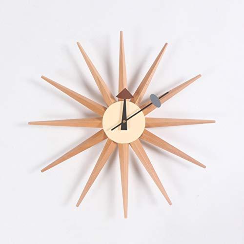 Mlimy Relojes de Pared Salon Luces Decorativas nórdicas Reloj de Pared Reloj de Sol Accesorios for el hogar creativos Reloj de Pared Amazon (Color : Yellow)
